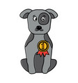 pet dog with medal sitting animal domestic vector image