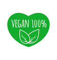 vegan food sign with leaves in heart shape design vector image