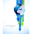 Background with globe and arrows vector image vector image