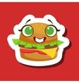 Smiling Burger Sandwich Cute Emoji Sticker On Red vector image