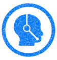 call center operator rounded grainy icon vector image