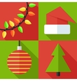 flat christmas icon set vector image