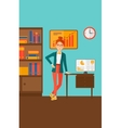 Cheerful office clerk vector image