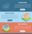 cottage construction flat isometric vector image