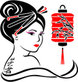 Geisha portrait poster stencil for stickers vector image