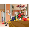 interior room with dinner table for a holiday vector image