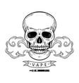 cartoon skull vaping isolated vector image