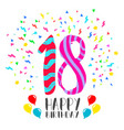 happy birthday for 18 year party invitation card vector image
