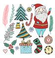 happy new year doodle set christmas cartoon vector image