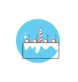 Line Icon with Flat Graphics Element of Birthday vector image
