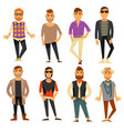 men in different casual fashion clothes styles vector image