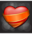 valentines day heart wrapped in orange ribbon eps vector image