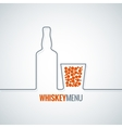 whiskey glass bottle line design background vector image