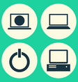 laptop icons set collection of laptop power on vector image