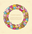 frame from the funny sweets fruit and ice cream vector image