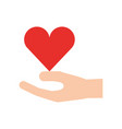 hand holding heart health care wellness concept vector image