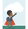 Hero african man pointing up high to the sky vector image