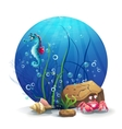 underwater rocks with seahorse and vector image