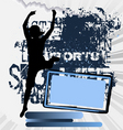 active woman flyer template on abstract background vector image