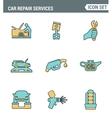 Icons line set premium quality of car repair vector image