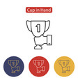 male hand holding winner cup icon vector image