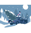 man loading christmas tree in car vector image