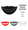 smile with white teeth icon in cartoon style vector image