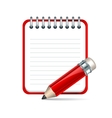 pencil and notepad icon vector image vector image