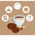 breakfast cup coffee cookies sugar badge beige vector image