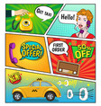 advertising of taxi comic book page vector image