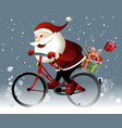 Santa Claus riding a bike vector image