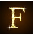 Alphabets F of gold glittering stars vector image