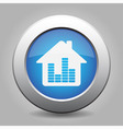 blue metal button - house with signal vector image
