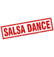 salsa dance red square grunge stamp on white vector image