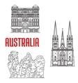 Australian travel landmarks thin line style vector image