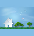 paper art of house in green field and blue sky vector image