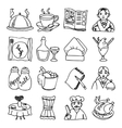 Restaurant dishes black outline icons set vector image