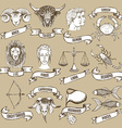 Zodiac set with ribbons vector image