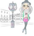 hipster fashion girl near big clock vector image vector image