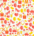 8 March seamless pattern Background of gifts for vector image