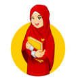 Muslim Woman with Hugging a Book Wearing Red Veil vector image