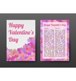 Brochure Happy Valentines Day with Pink Hearts vector image