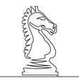 Chess knight continuous line drawing vector image