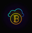 golden bitcoin with blue cloud line concept icon vector image