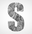 Letter S from doodle alphabet vector image