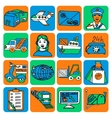 Logistic cartoon icons color vector image