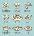 vintage bakery or pastries products collection vector image