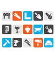 Silhouette Construction industry and Tools icons vector image