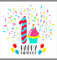 happy birthday card for 1 year baby fun party art vector image