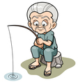 Old man fishing vector image vector image